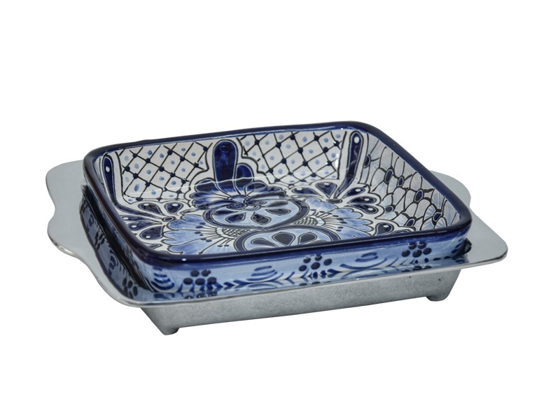 small smooth pyrex holder with talavera