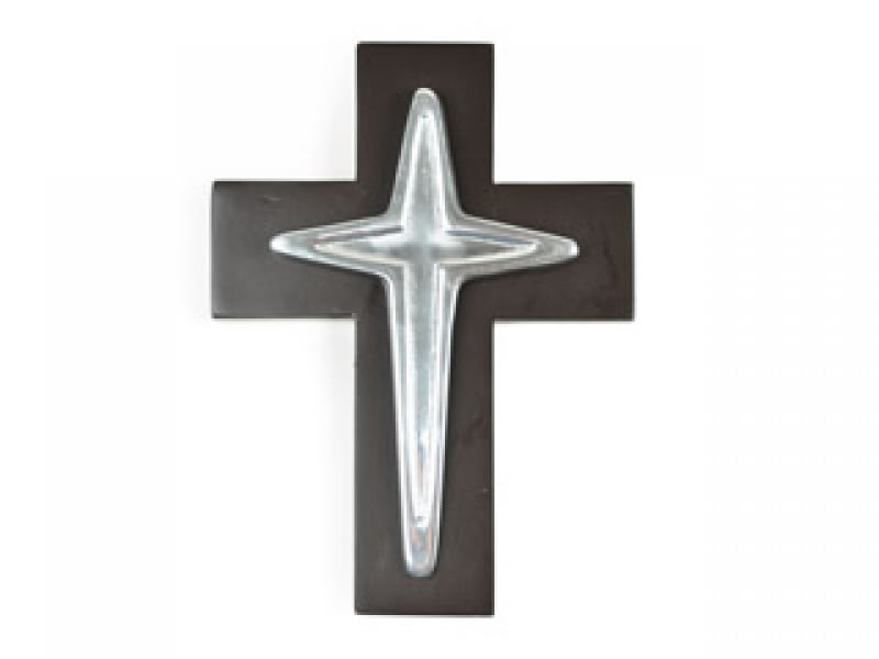 medium estrella cross on chocolate wood