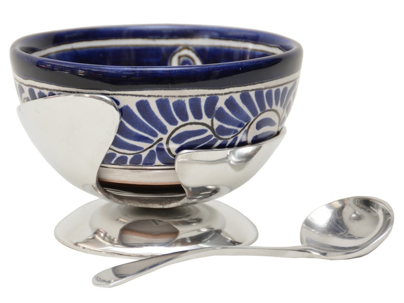 modernist salsa bowl holder, talavera salsa bowl and spoon