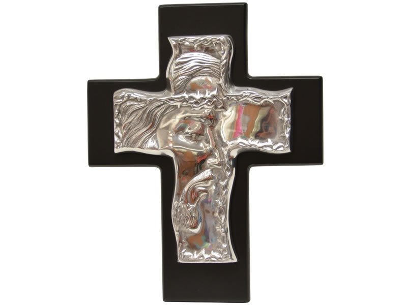 large nazarene cross in dark chocolate wood