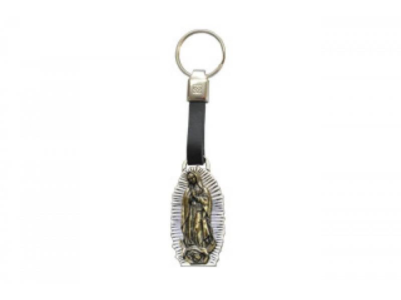 small virgen de guadalupe leather key chain