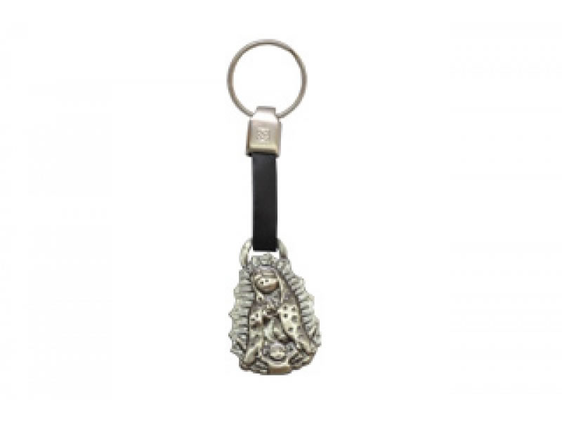 small virgencita please leather key chain