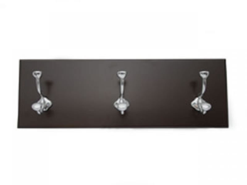 medium perchero 3 hook coat rack on chocolate wood