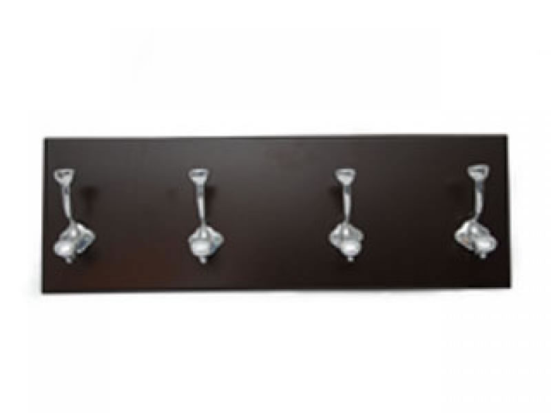 medium  perchero 4 hook coat rack on chocolate wood