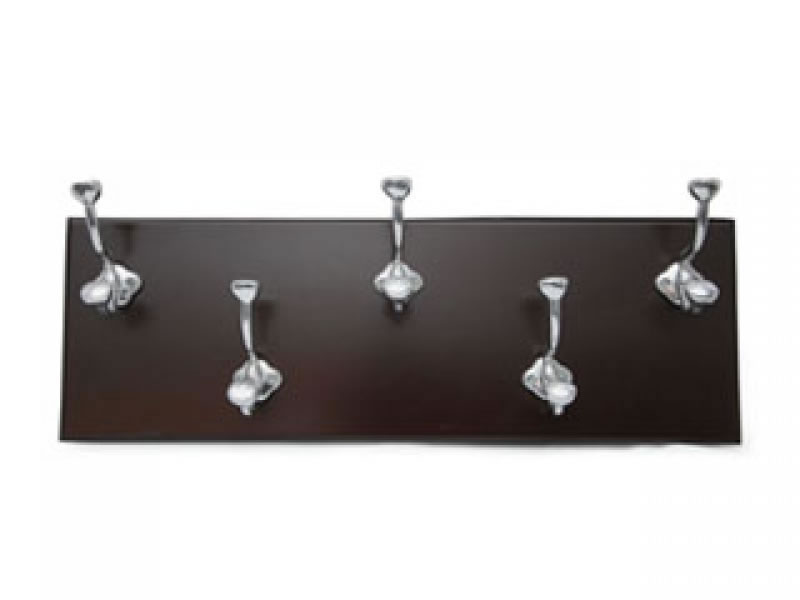 large perchero 5 hook coat rack on chocolate wood
