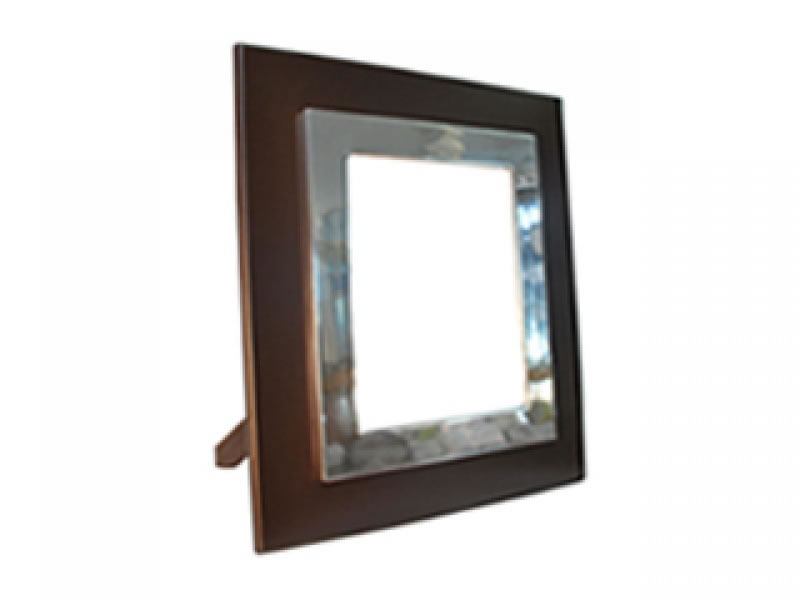 large smooth liso photo frame with chocolate wood