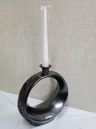 black clay vase candle holder