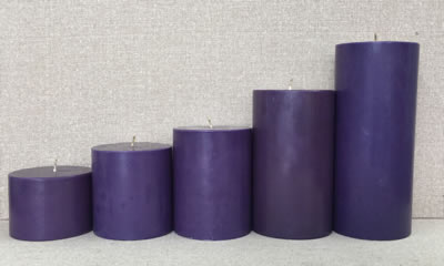 scented round purple candle