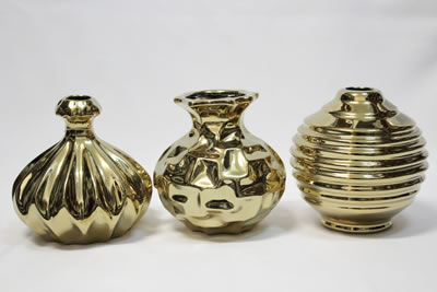 golden metal flower vase set