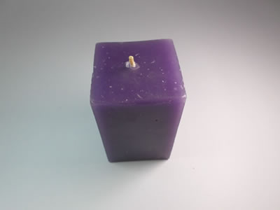 scented square purple candle