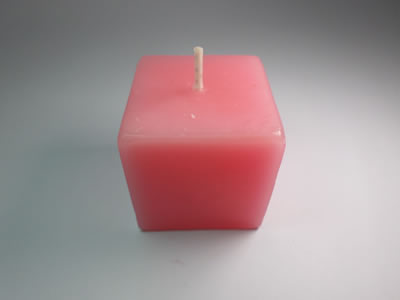 scented square pink candle