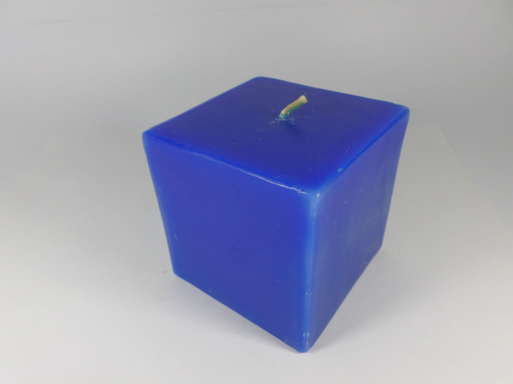 scented square blue candle